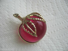 VINTAGE SARAH COV. LARGE LUCITE JELLY BELLY RED/ROSE CHERRY FRUIT  BROOCH  PIN