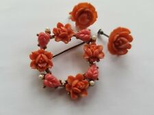 Vintage Faux Carved Coral Rose And Leaf Circle Pin And Earrings. Lovely...