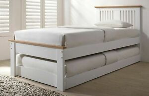 3FT WHITE & OAK WOOD GUEST BED TRUNDLE, UNDERBED WOODEN OVERNIGHTER