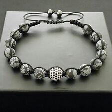 Men 8mm Snowflake Obsidian Beads Silver Micro Pave Disco Ball Macrame Bracelet