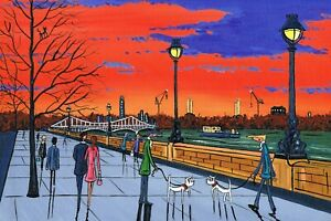 A4 Print of Battersea power Station at sunset England ..Painted by SLAD
