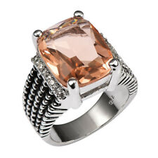 Huge Morganite Ring Silver 925 Sterling White multi CZ Unisex Sz 6 7 8 9 10 11