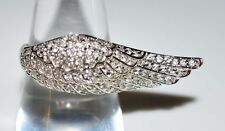 VTG .925 Sterling Silver Clear Rhinestone Angel Wing Ring Size 8.75