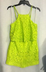 Lilly Pulitzer Celyn Romper Tropical Lime Green Lace Sz 2