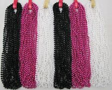 Mardi Gras Beads Hot Pink Black White Pearl 6 Dozen Parade Party 72 NECKLACES