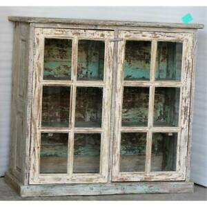NEW Lime wash glass cabinet
