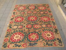 Antique Beautiful Bukhara Uzbekistan Suzani Silk Embroidery Handmade Rug Carpet