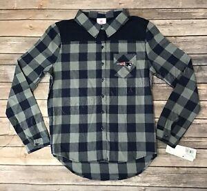 Kids Boys New England Patriots Long Sleeve Checker Flannel Button up Shirt M, L