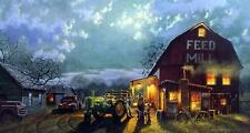 "Dave Barnhouse ""Tales of the Day"" Farm John Deere Signed Print 28.25 x 16.25"