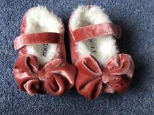 Next Baby Girls Pink Velvet Bow Slippers Size 3
