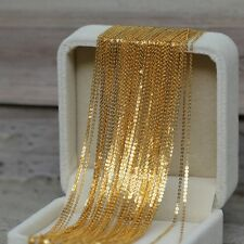 """Solid 18k Yellow Gold Necklace Women's Great O Link Chain 17.7"""" 1.2mm"""