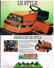 Publicité Advertising 1990 Les Tondeuses autoportées Kubota