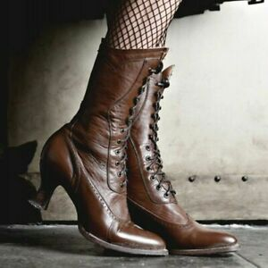 Women Lace Up Europe Victorian Boots Mid-Calf Leather High Heel Steampunk Lolita
