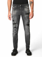 Diesel Herren Slim Fit Röhren Stretch Jeans Hose Grau Distressed | Tepphar 084NH