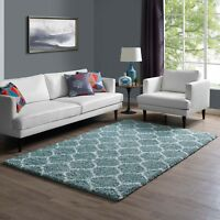 Moroccan Trellis Lattice Design Shag Pile 5x8 Area Rug in Aqua Blue and Ivory