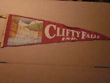 "1950's Clifty Falls, Indiana soft wool PENNANT BANNER TRAVEL SOUVENIR 26"" long"