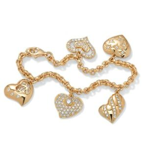 1.48 TCW CZ Heart Charm Bracelet in Yellow Gold Tone