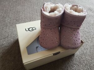 UGG Baby Girl Pink Faux Fur Suede Boots Size Uk 2 ❤