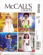 "MCCALL'S SEWING PATTERN 6452 18"" DOLL CLOTHES - FAIRY MERMAID PRINCESS & WEDDING"