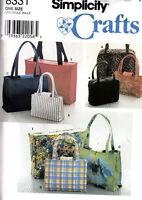 SIMPLICITY CRAFTS SEWING PATTERN #8331 HANDBAGS & TOTE BAG ASSORTMENT