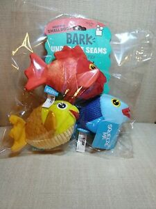 BARK Under The Seams Dog Toy - The Groupers (Squeaky Fish 🐠🐟 3-Pack) BRAND NEW