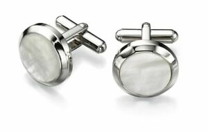 Mens Stainless Steel White Mother Of Pearl Round Cufflinks Brand New