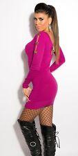 Neu Sexy  Kleid Strickkleid Schleifen Zip Sweater Longpulli Pullover !8021
