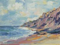 Art Original Oil Painting by RM Mortensen Seascape Coast Beach Landscape