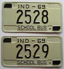 Indiana 1969 CONSECUTIVE NUMBER SCHOOL BUS License Plates HIGH QUALITY