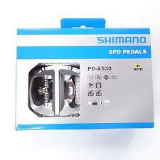 New Shimano PD-A530 Platform Clipless SPD Road MTB Pedals SM-SH51 cleats Silver