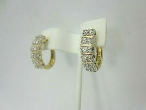 14K Yellow Gold 0.75 Carat Diamond and Hoop Earrings