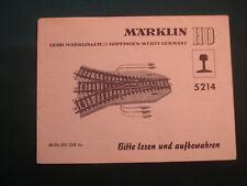 Märklin H0 Bedienungsanleitung für Weiche 5214 Betriebsanleitung