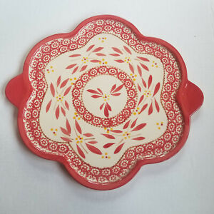 TEMP-TATIONS Flower Shaped Serving Platter - Red / Off-White - 13.75in, Handles
