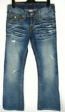 True Religion RAINBOW BILLY W32 L34 Mens Blue Stretch Denim Distressed Jeans