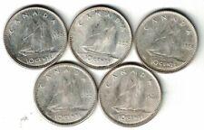 5 X CANADA 10 CENTS DIMES QUEEN ELIZABETH II .800 SILVER COINS 1953 - 1956