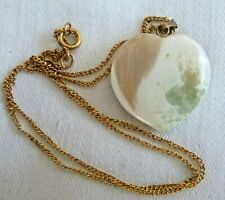 1960's Vintage Artisan Carved Jasper Heart Pendant Necklace Gold Plated Chain