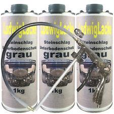 Steinschlagschutz 3x überlackierbar grau & 1 Unterbodenschutz Spritzpistole