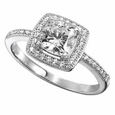 10K Gold Over .925 Sterling Silver Simulated Diamond Solitaire with Accents Ring