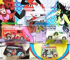 HOT WHEELS  POP CULTURE 2017 WOMAN MARVEL SET OF 5 VW T1 BUS BREAD BOX DODGE