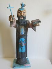 Vintage Priest With Two Devils Folk Art Statue Bulto ca.1930 Mexico