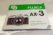 Fujica AX-3 Fujifilm Camera Owner's Instruction Guide Manual 61 pages English EN