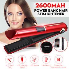 Waterproof USB Rechargeable Hair Straightener Curler Crimping Portable Ceramic