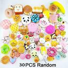 30Pcs Jumbo Medium Mini Squishy Soft Lot Toast/Panda/Bread/Cake Phone Straps BU