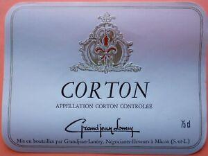 ETIQUETTE CORTON GRANDJEAN LANERY  NEUVE