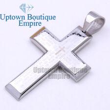 14 Men's Stainless Steel Silver Lord Prayer Bible Cross Pendant