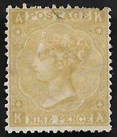 GB 1867 QV SG110 9d Straw KA Plate 4 Mint Hinged CV £2,500 Scarce