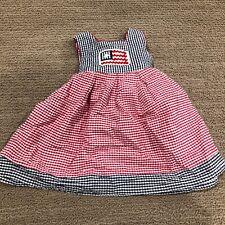 Girls 12 month Smocked Flag Dress~ EUC 100% Cotton Vintage? Red/White/Blue