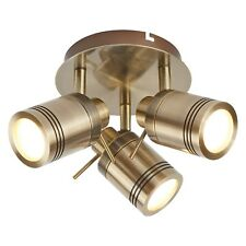 Searchlight Samson LED 3 Lights Antique Brass Bathroom Light Ceiling Spotlight