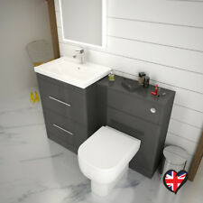Bathroom Cloakroom 1200mm Patello Vanity Sink Unit Grey with Toilet and Tap
