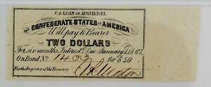 Confederate States of America Bond Coupon, $2 Bond for $50 1861 PMG Unc. 63 EPQ